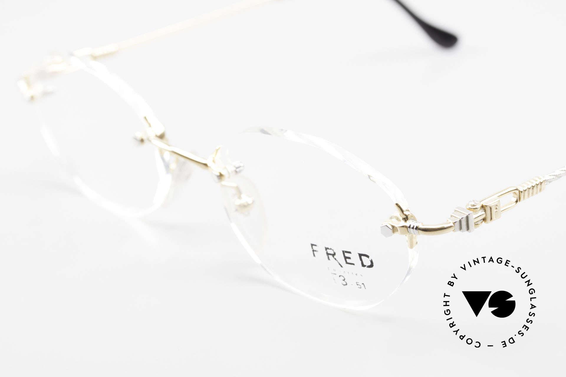 Fred Fidji Luxus Brille Randlos Segler, Bügel sind gedreht wie ein Segeltau; MUSS für Segler!, Passend für Herren und Damen