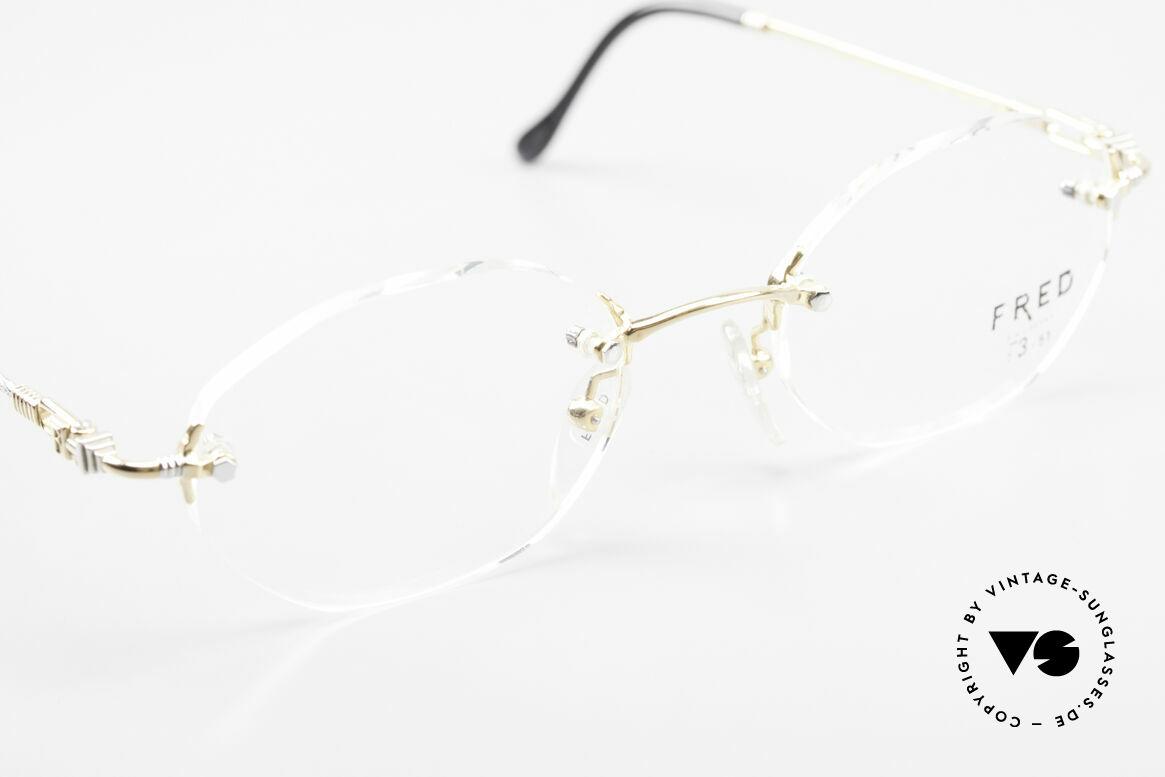 Fred Fidji Luxus Brille Randlos Segler, bicolore Ausführung (Rosé-GOLD und PLATIN-plattiert), Passend für Herren und Damen