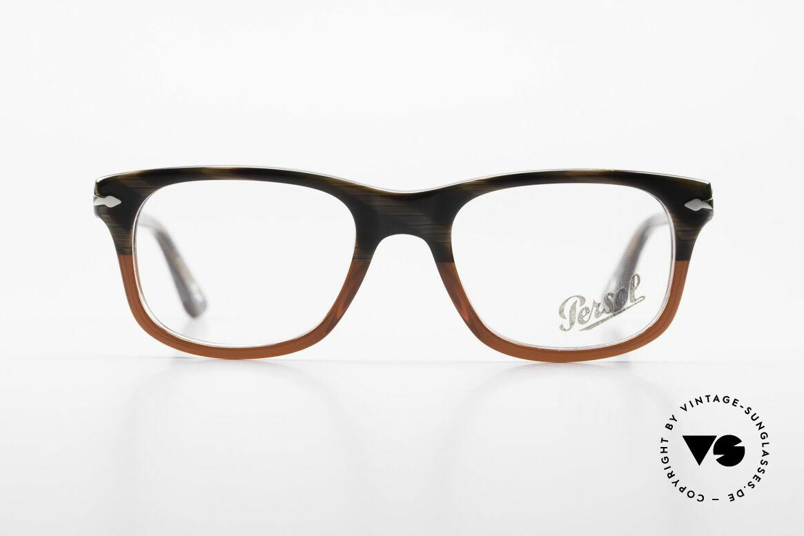 Persol 3029 Kleine Persol Brille Unisex, klassische Brillenform in einem zeitlosen Design, Passend für Herren und Damen