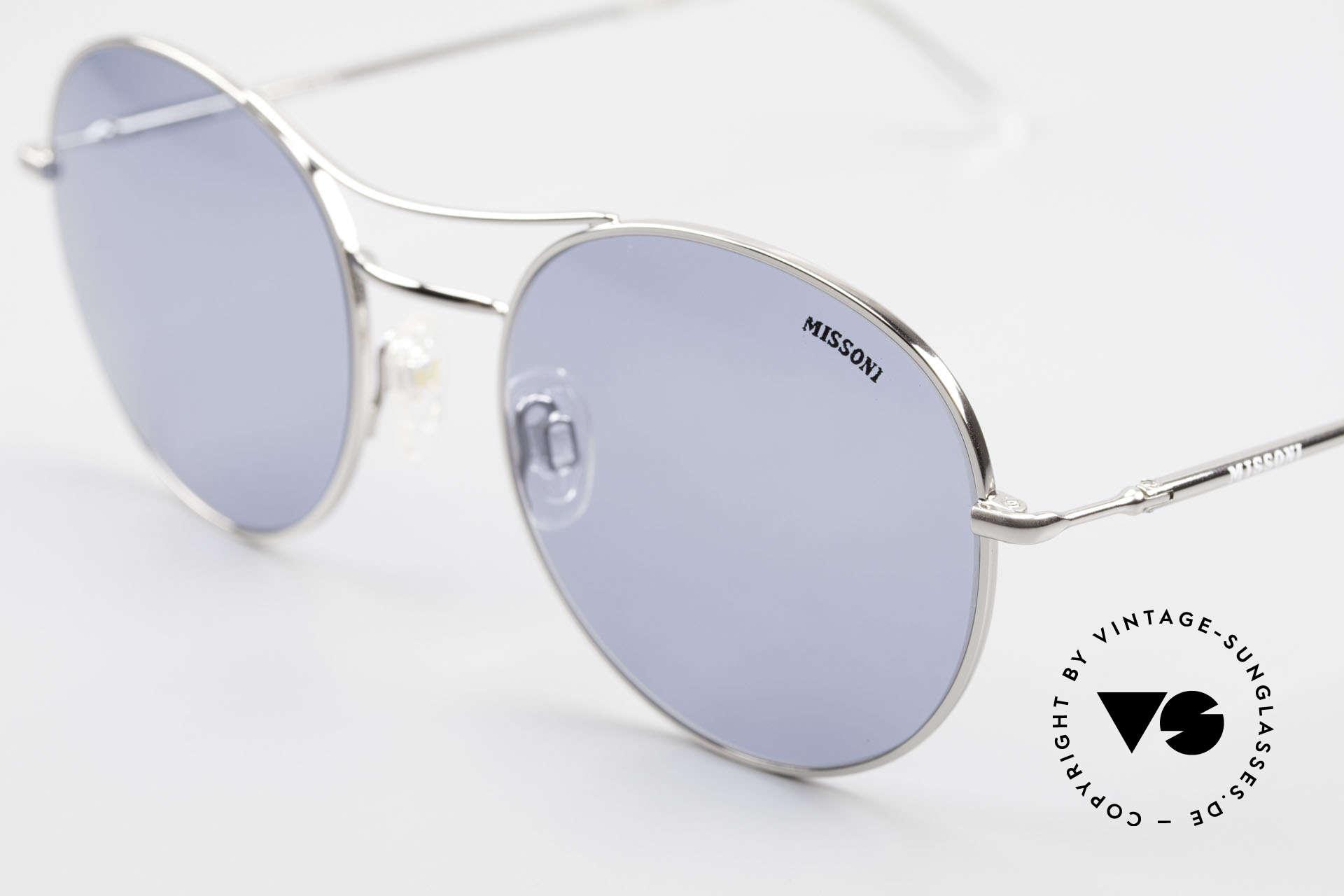 Missoni 0439 Round Aviator Sonnenbrille, blaue Sonnengläser (100% UV) sind ggf. austauschbar, Passend für Herren und Damen