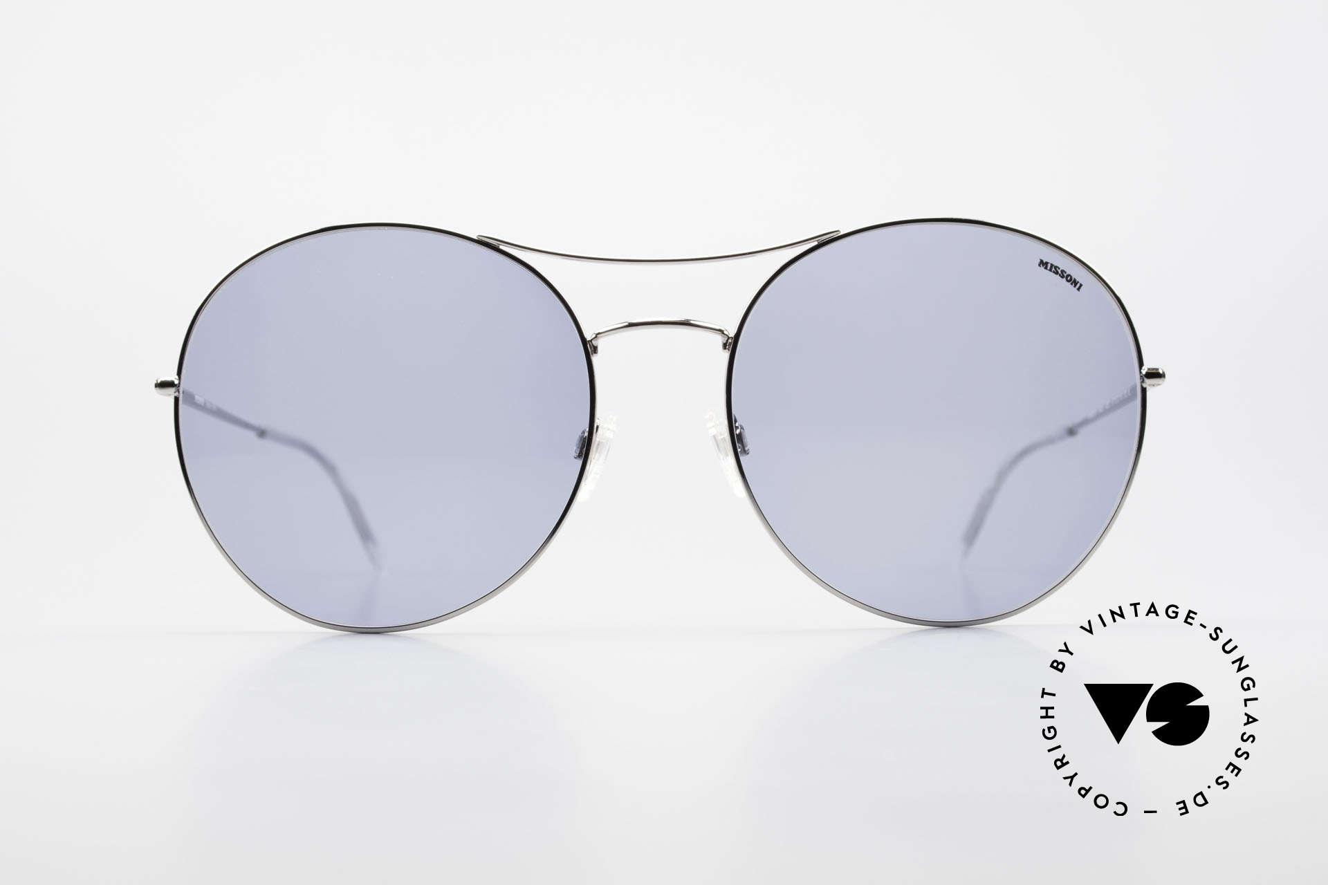 Missoni 0440 90er XXL Aviator Sonnenbrille, oversized Aviator-Stil, Sonnenbrille mit 64mm Höhe!, Passend für Herren und Damen