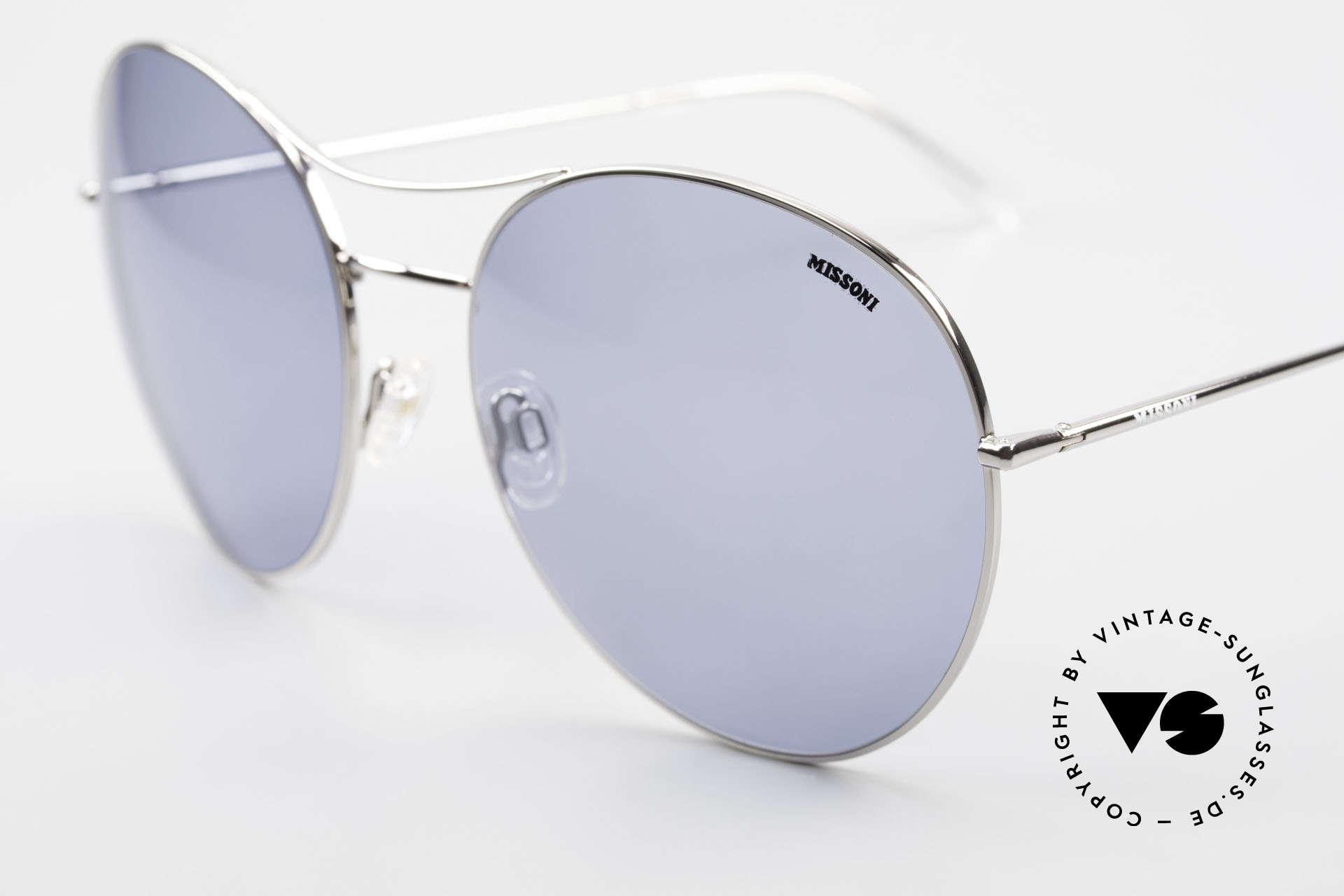 Missoni 0440 90er XXL Aviator Sonnenbrille, hellblaue Sonnengläser (100% UV) mit Missoni Logo, Passend für Herren und Damen