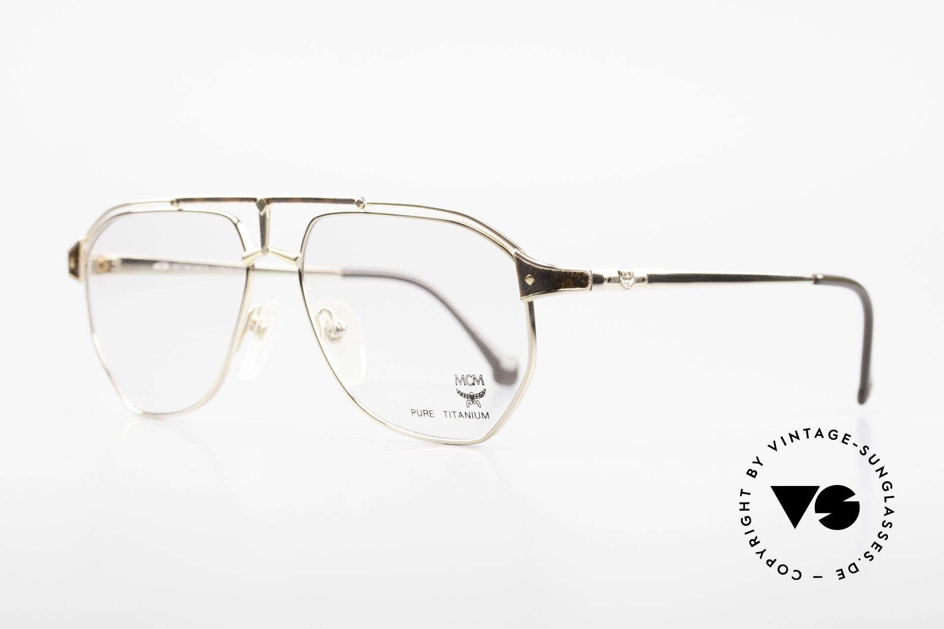 MCM München 6 XL Luxus Vintage Brille 90er, dennoch leicht & komfortabel, da Pure Titanium, Passend für Herren