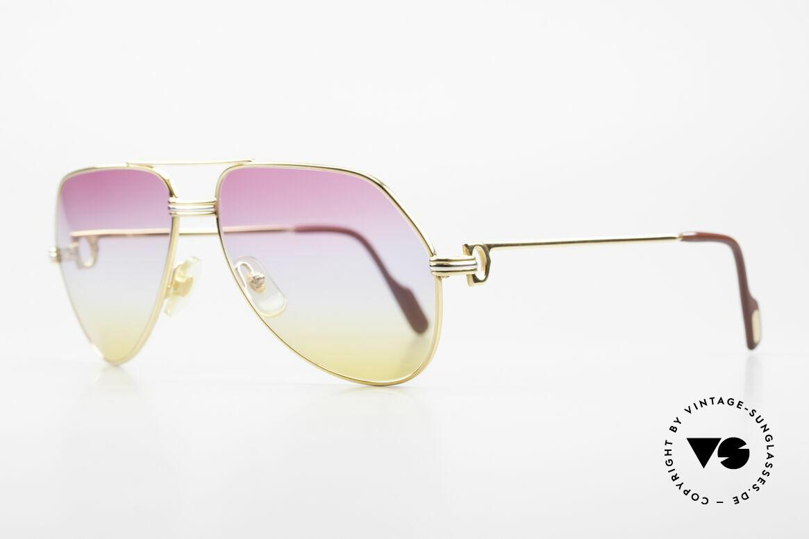 Cartier Vendome LC - M 80er 90er Aviator Sonnenbrille, hier Louis Cartier (LC)-Dekor: Medium Größe 59-16, 140, Passend für Herren und Damen