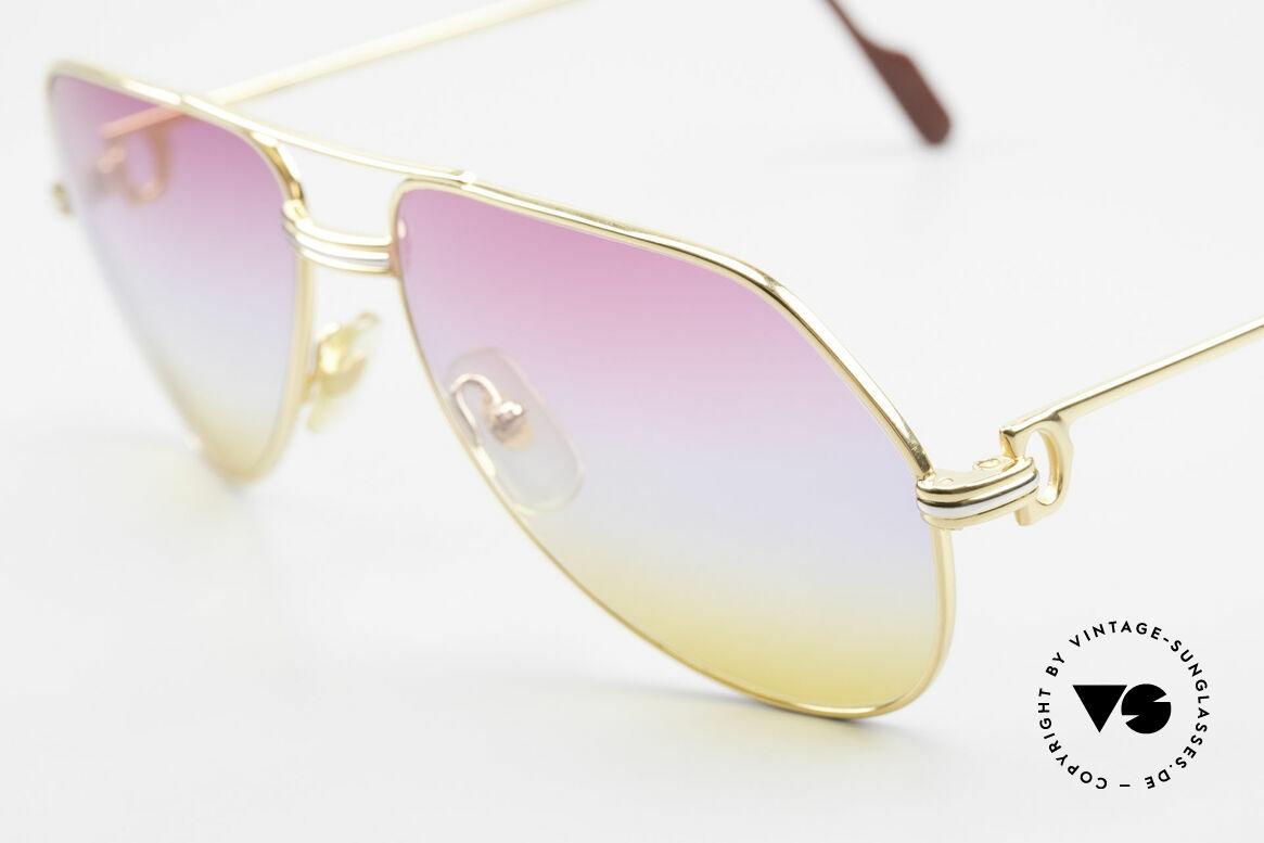 Cartier Vendome LC - M 80er 90er Aviator Sonnenbrille, ultra rare, neue 'TRICOLOR customized' Verlaufsgläser, Passend für Herren und Damen