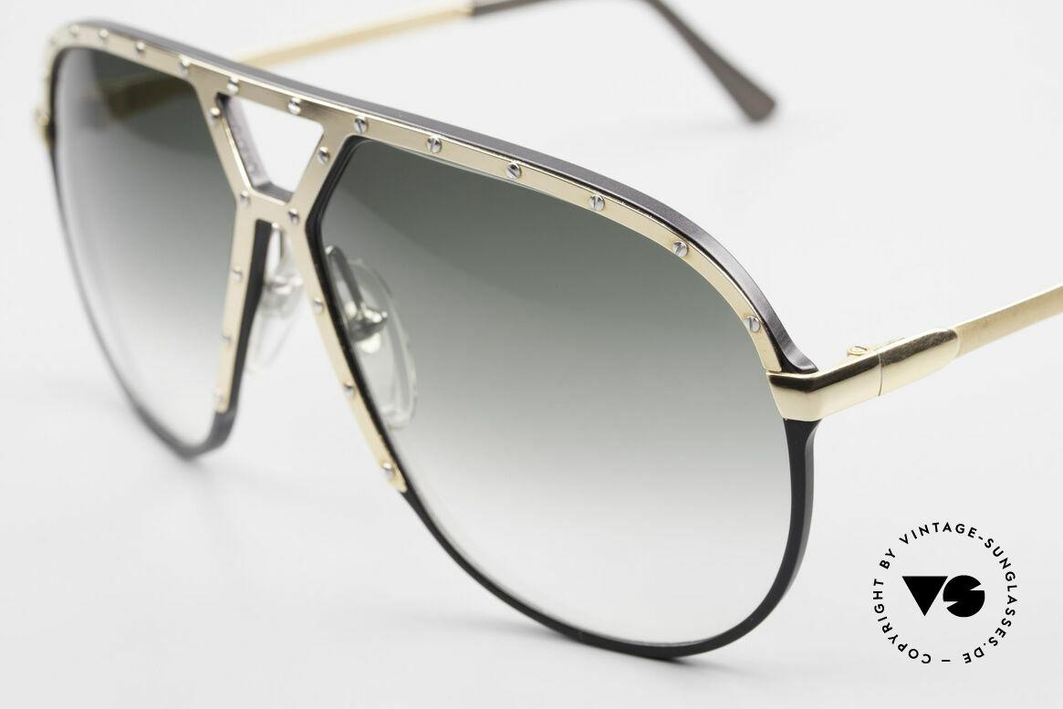 Alpina M1 80er Sonnenbrille W Germany, schwarz / goldene Blende / silberne Zierschrauben, Passend für Herren