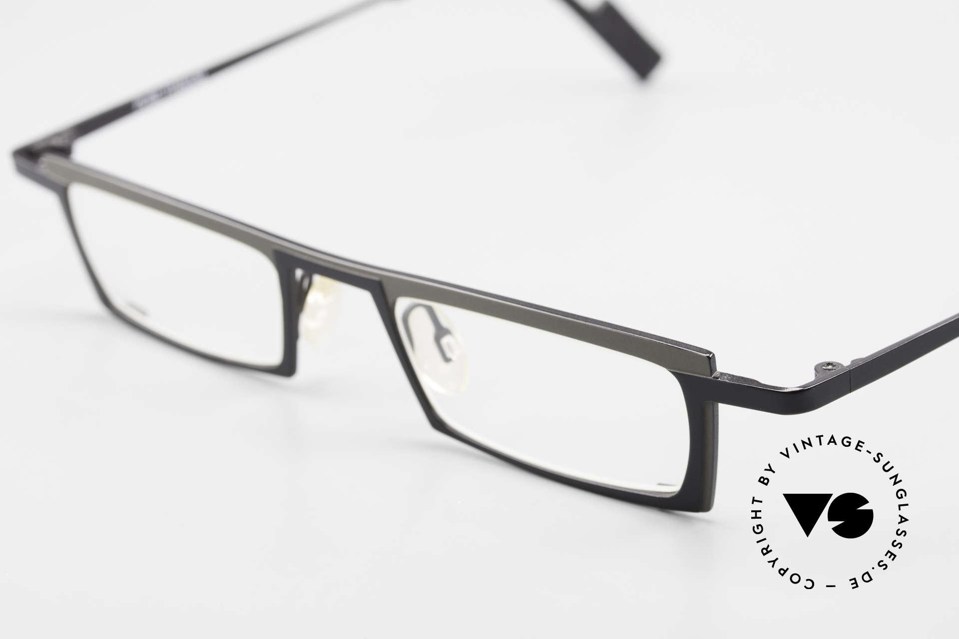 Theo Belgium Langdon Eckige Titanium Brille Herren, ungetragenes Theo-Exemplar für die, die sich trauen, Passend für Herren