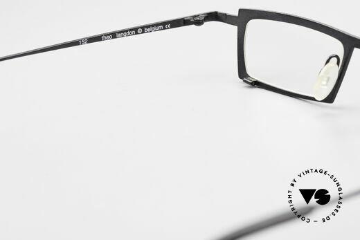 Theo Belgium Langdon Eckige Titanium Brille Herren, die Demogläser sollten durch optische ersetzt werden, Passend für Herren