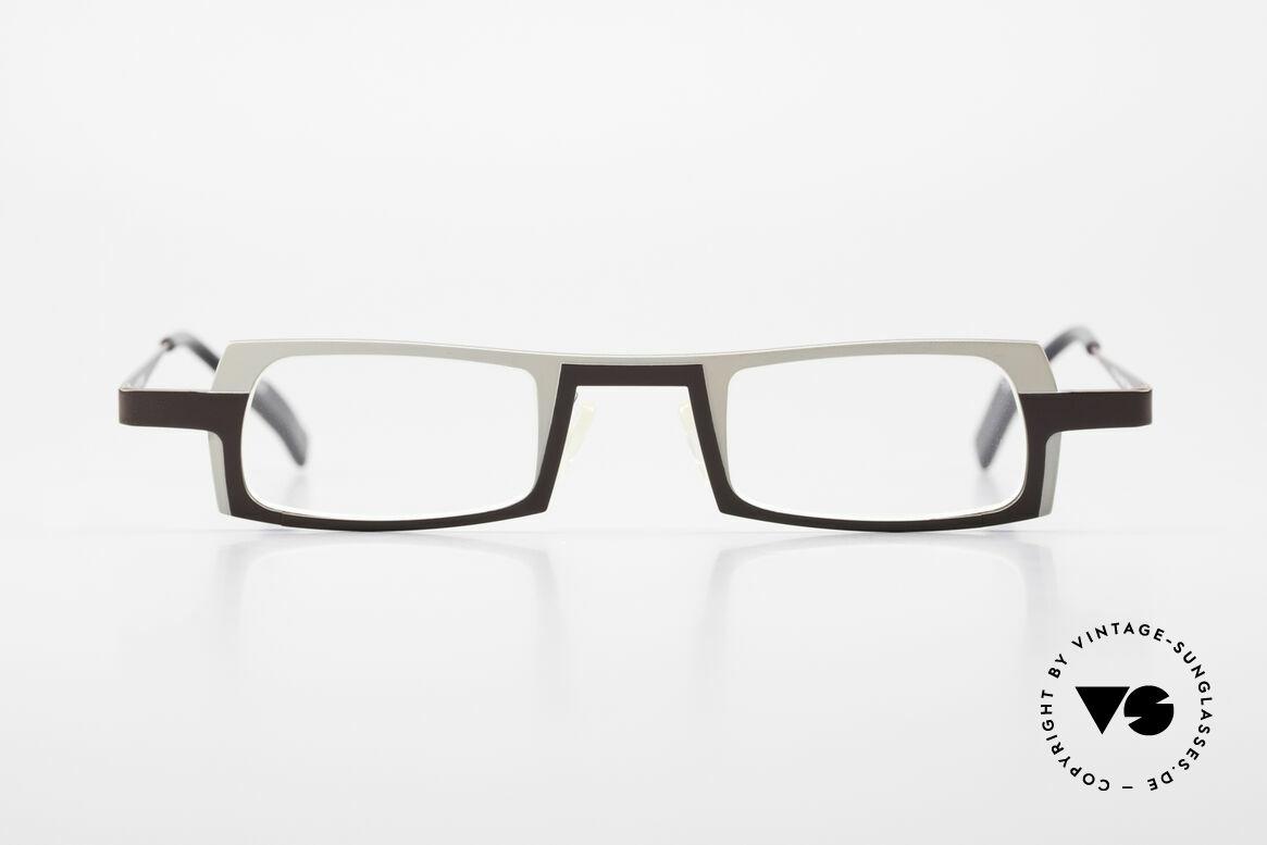 Theo Belgium Wimsey Eckige Herrenbrille Titanium, markantes Rahmendesign in weiss und dunkelbraun, Passend für Herren