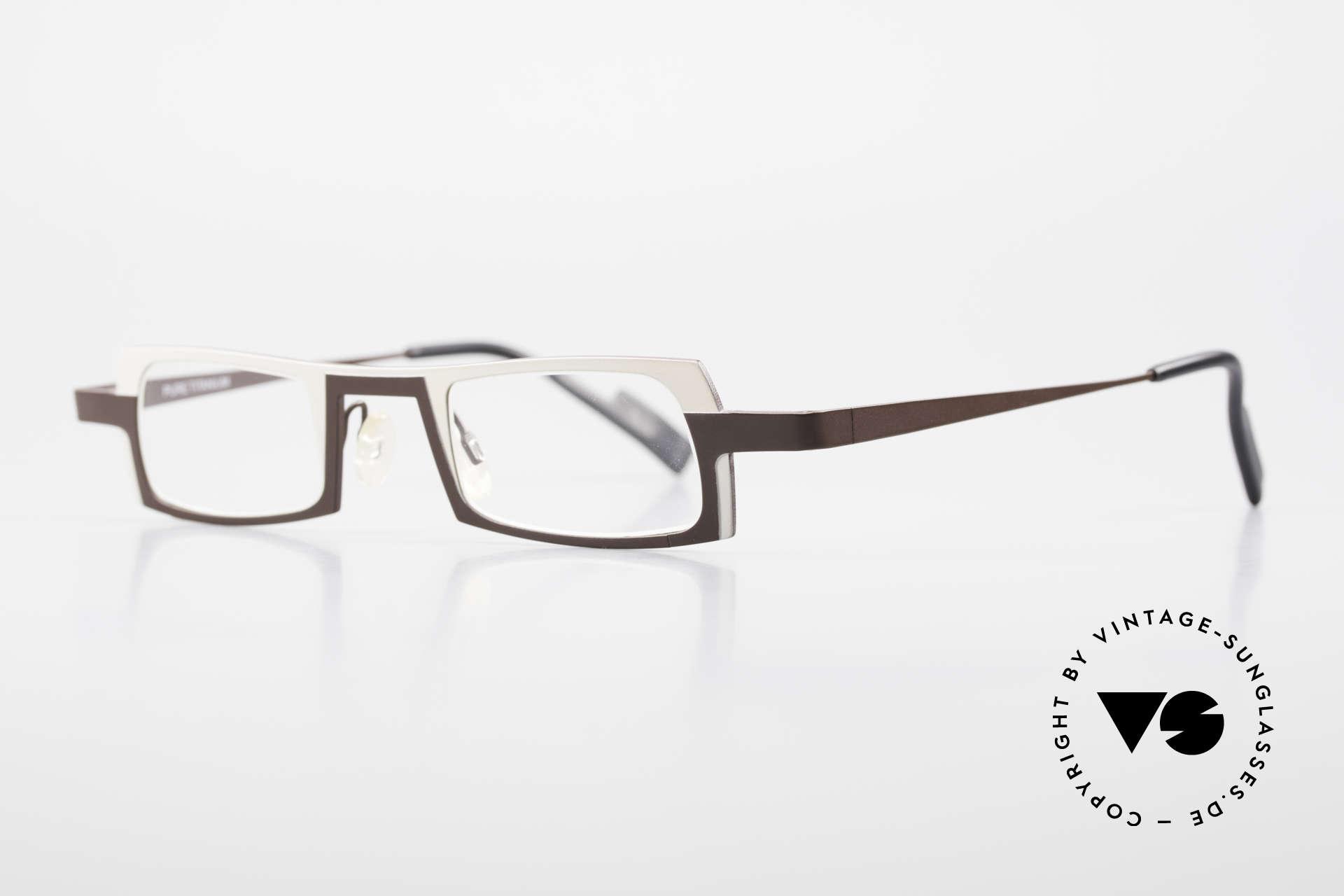 Theo Belgium Wimsey Eckige Herrenbrille Titanium, leicht & sehr komfortabel; PURE TITANIUM Fassung, Passend für Herren