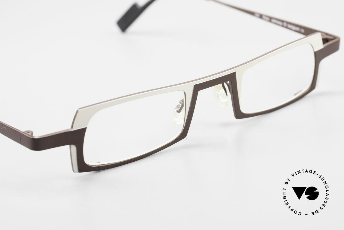Theo Belgium Wimsey Eckige Herrenbrille Titanium, KEINE RETRObrille; ein circa 20 Jahre altes Original, Passend für Herren