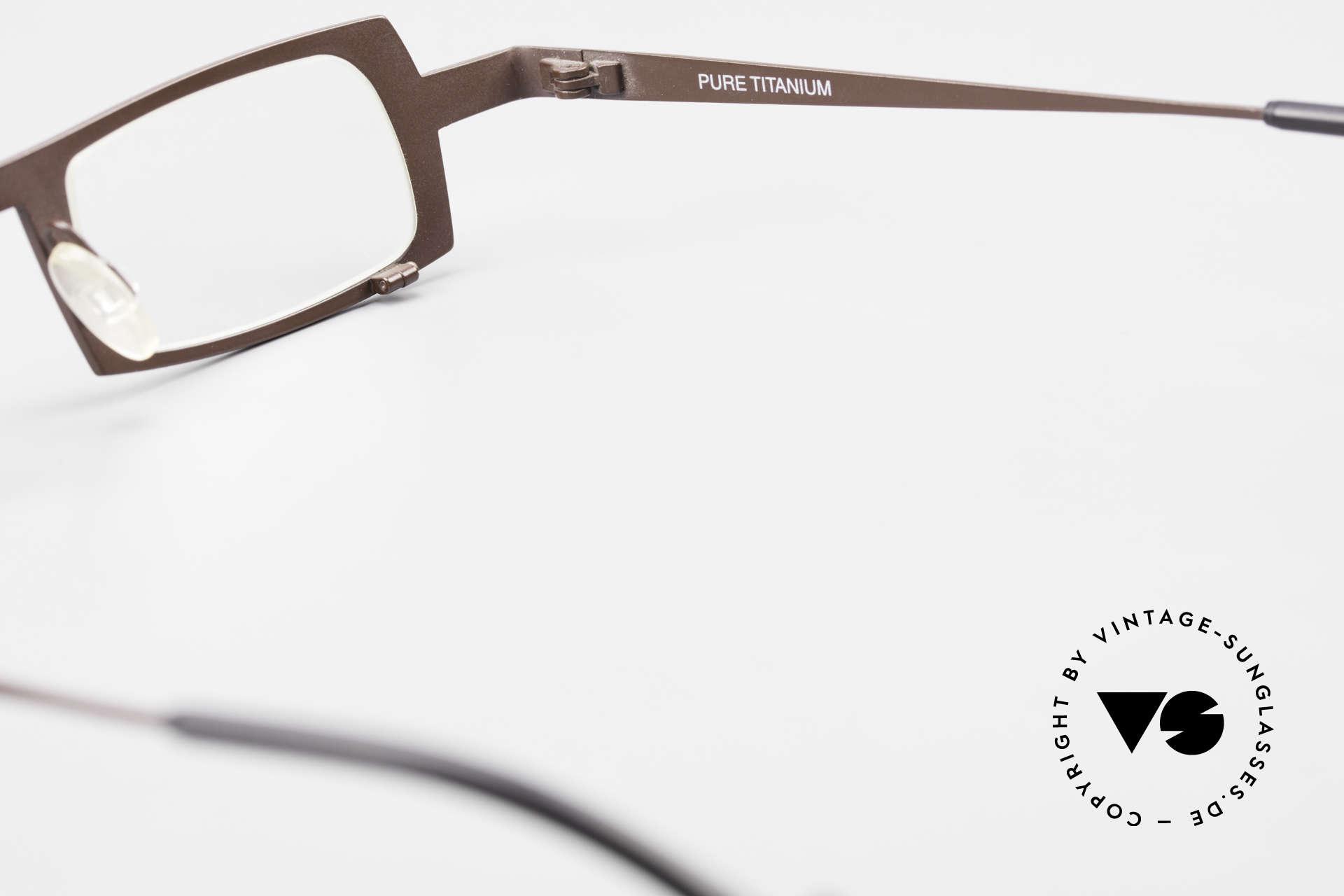 Theo Belgium Wimsey Eckige Herrenbrille Titanium, Größe: large, Passend für Herren