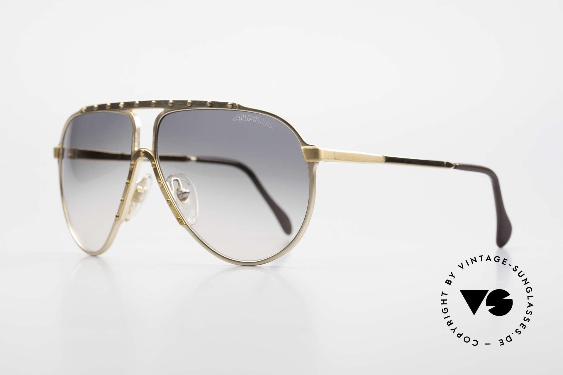 Alpina M1 80er Kult Vintage Sonnenbrille, Top-Qualität (VERGOLDET; made in W.Germany), Passend für Herren und Damen
