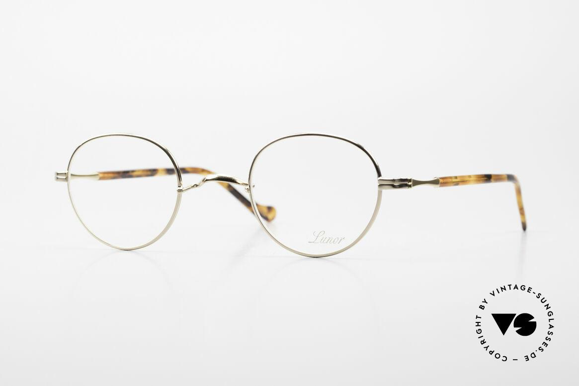 Lunor II A 22 Runde Vintage Brille Vergoldet, Lunor Brille der II-A Serie: Metall und Acetatbügel, Passend für Herren und Damen