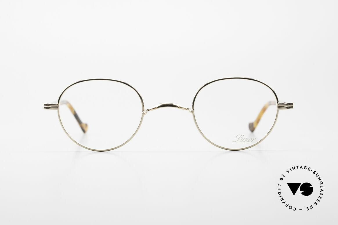 Lunor II A 22 Runde Vintage Brille Vergoldet, 22kt vergoldete Fassung; Bügel mit Acetatüberzug, Passend für Herren und Damen