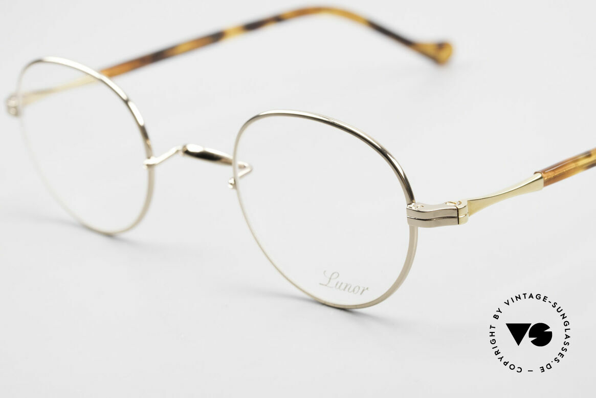 Lunor II A 22 Runde Vintage Brille Vergoldet, deutsches Traditionsunternehmen; made in Germany, Passend für Herren und Damen
