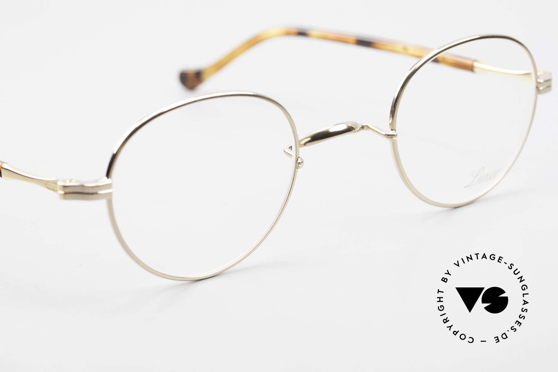 Lunor II A 22 Runde Vintage Brille Vergoldet, altes, ungetragenes LUNOR Original von circa 2010, Passend für Herren und Damen