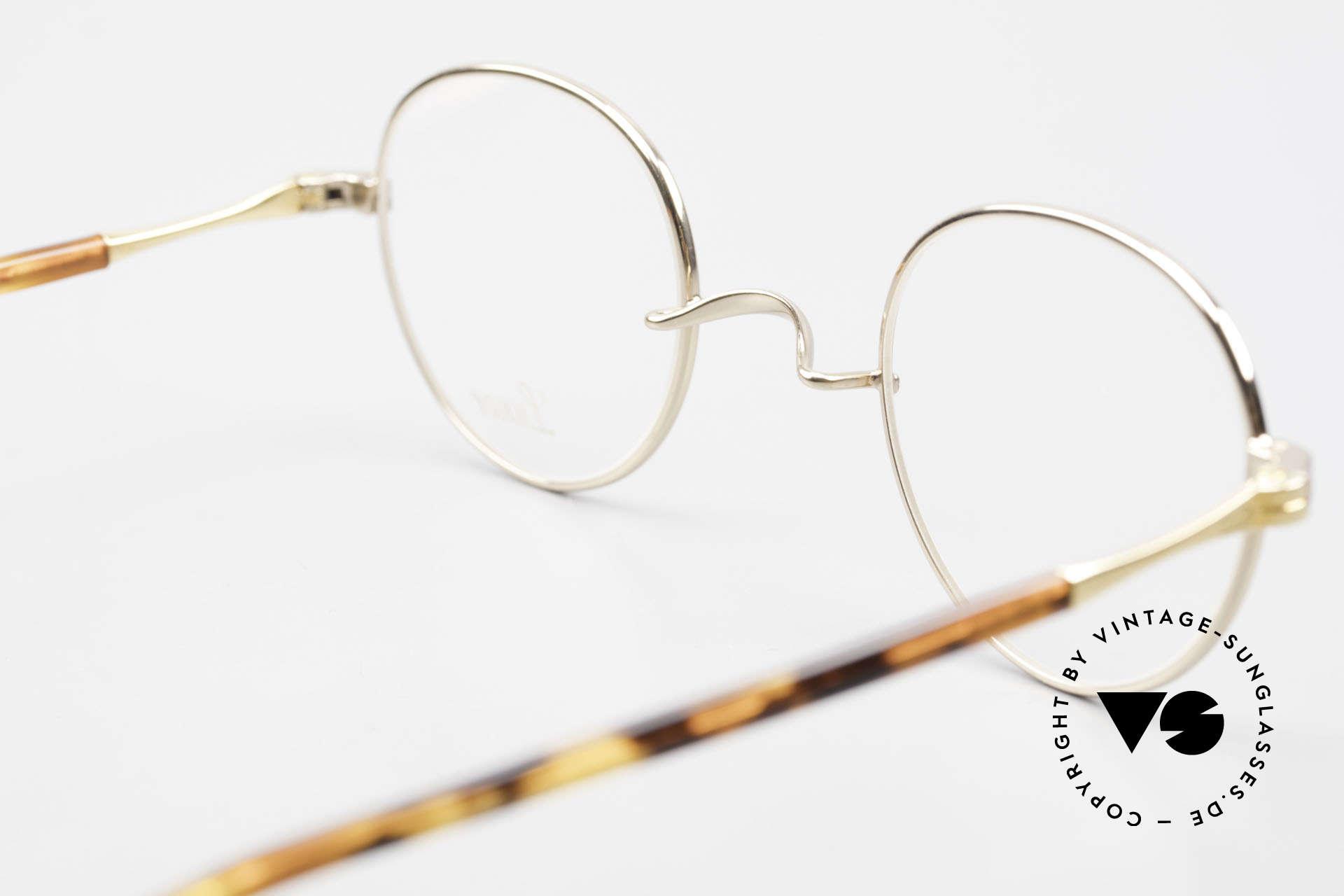 Lunor II A 22 Runde Vintage Brille Vergoldet, Größe: small, Passend für Herren und Damen