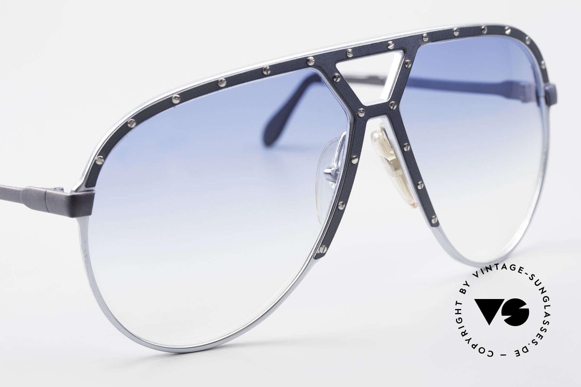 Alpina M1 Erste 80er Generation Brille, dunkel blau/graue Blende mit silbernen Schrauben, Passend für Herren