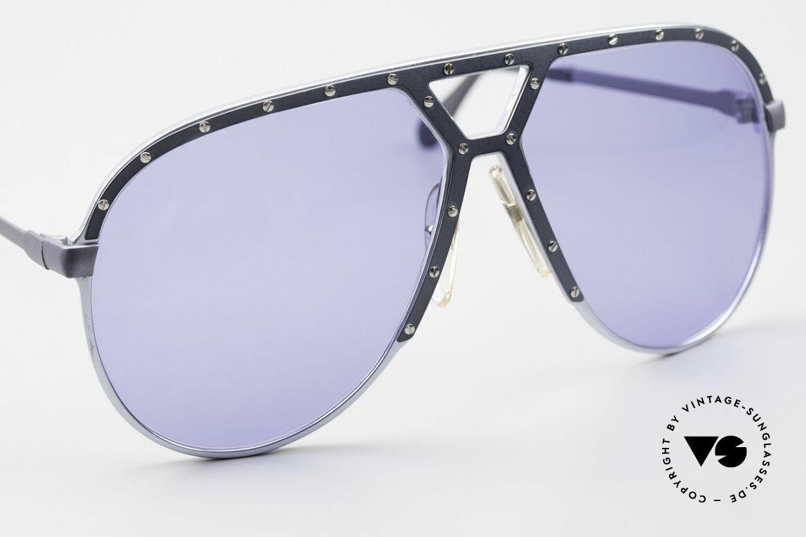 Alpina M1 Alte M1 Sonnenbrille Von 1981, dunkel blau/graue Blende mit silbernen Schrauben, Passend für Herren