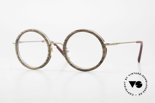 Kerbholz Rudolph Runde Holzbrille Teak Holz Details