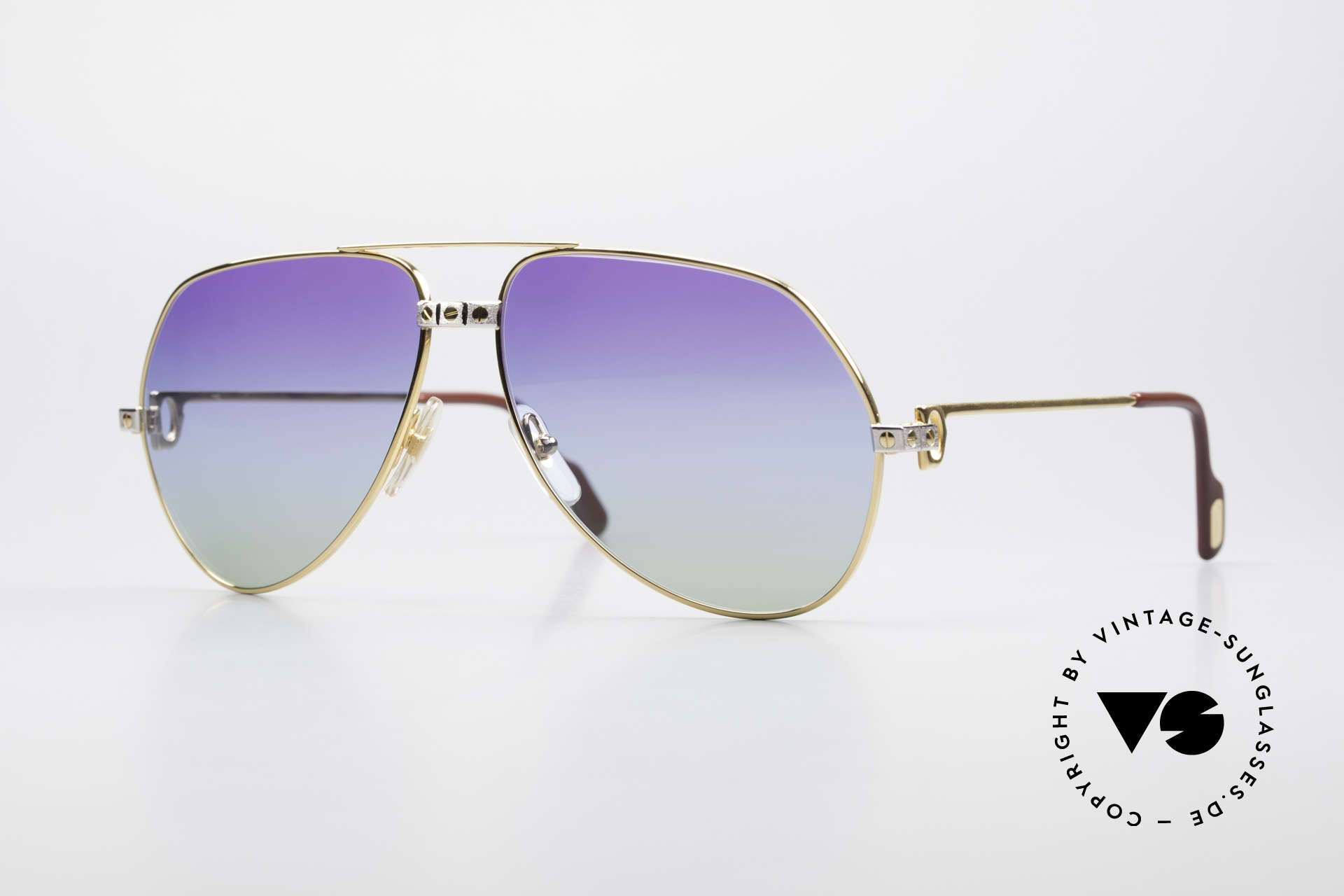 Cartier Vendome Santos - L Einzelstück Polarlicht Violett, 80er Jahre Cartier Vendome Santos Aviator Sonnenbrille, Passend für Herren