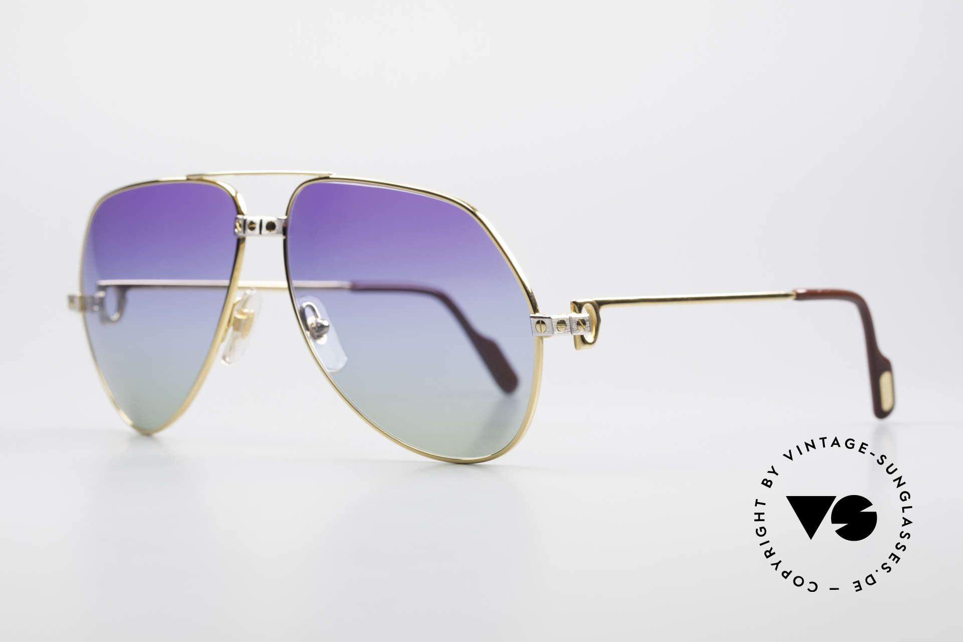Cartier Vendome Santos - L Einzelstück Polarlicht Violett, 22kt VERGOLDETER Rahmen in LARGE Größe 62-14, 140, Passend für Herren