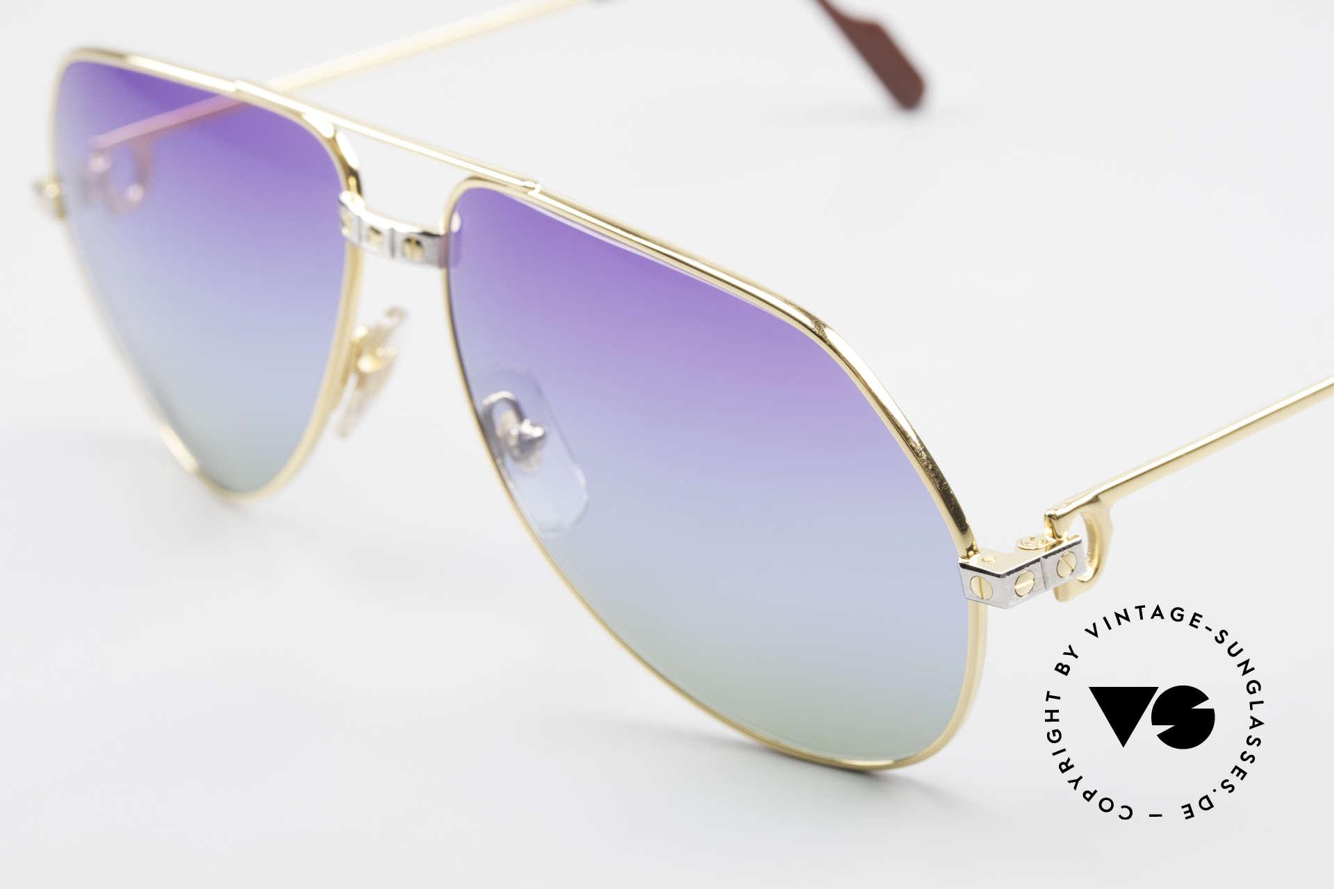 Cartier Vendome Santos - L Einzelstück Polarlicht Violett, Sonnengläser mit 3fach-Verlauf; wie Purpur Polarlichter, Passend für Herren