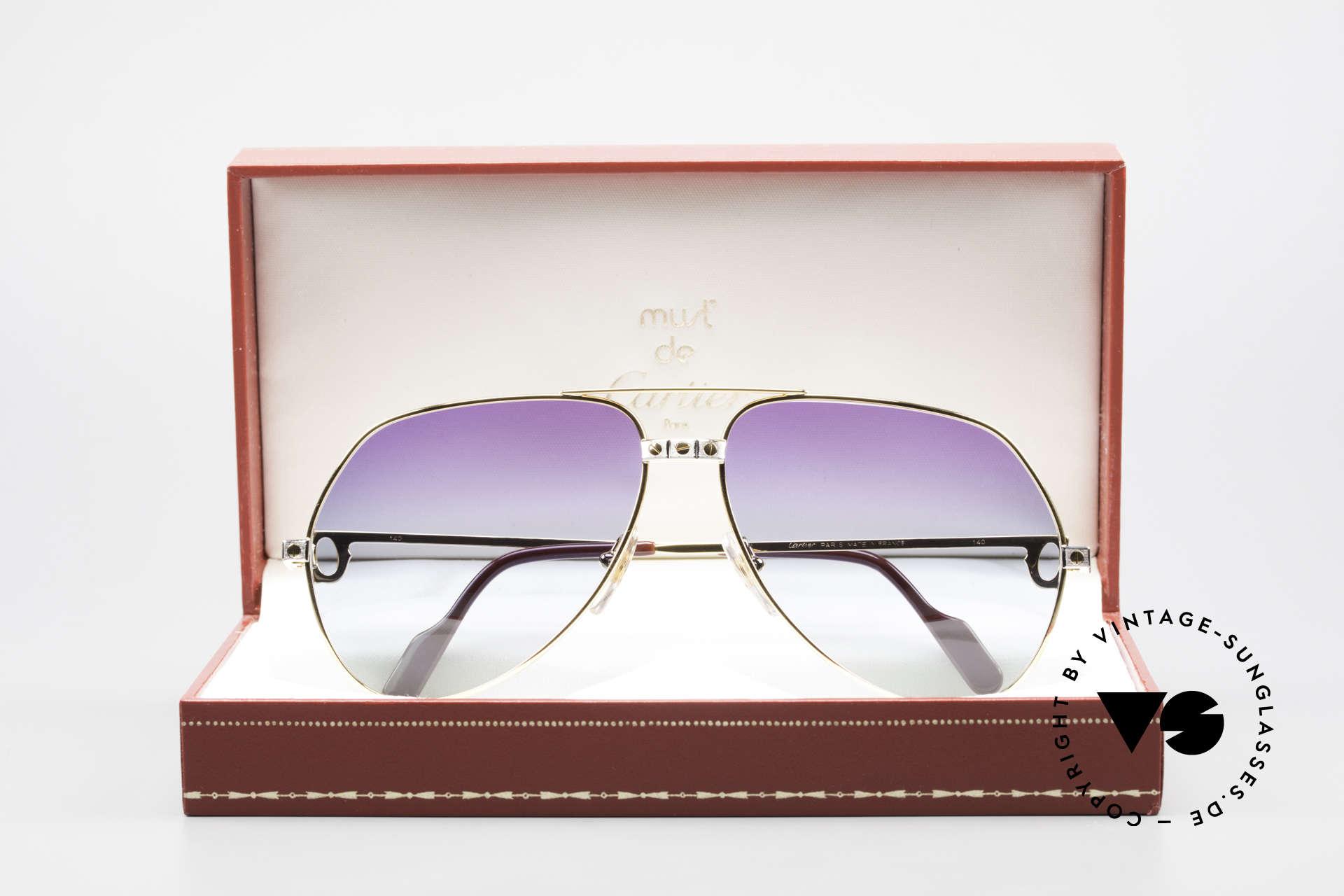 Cartier Vendome Santos - L Einzelstück Polarlicht Violett, KEINE Retrobrille, sondern ein altes vintage ORIGINAL!, Passend für Herren