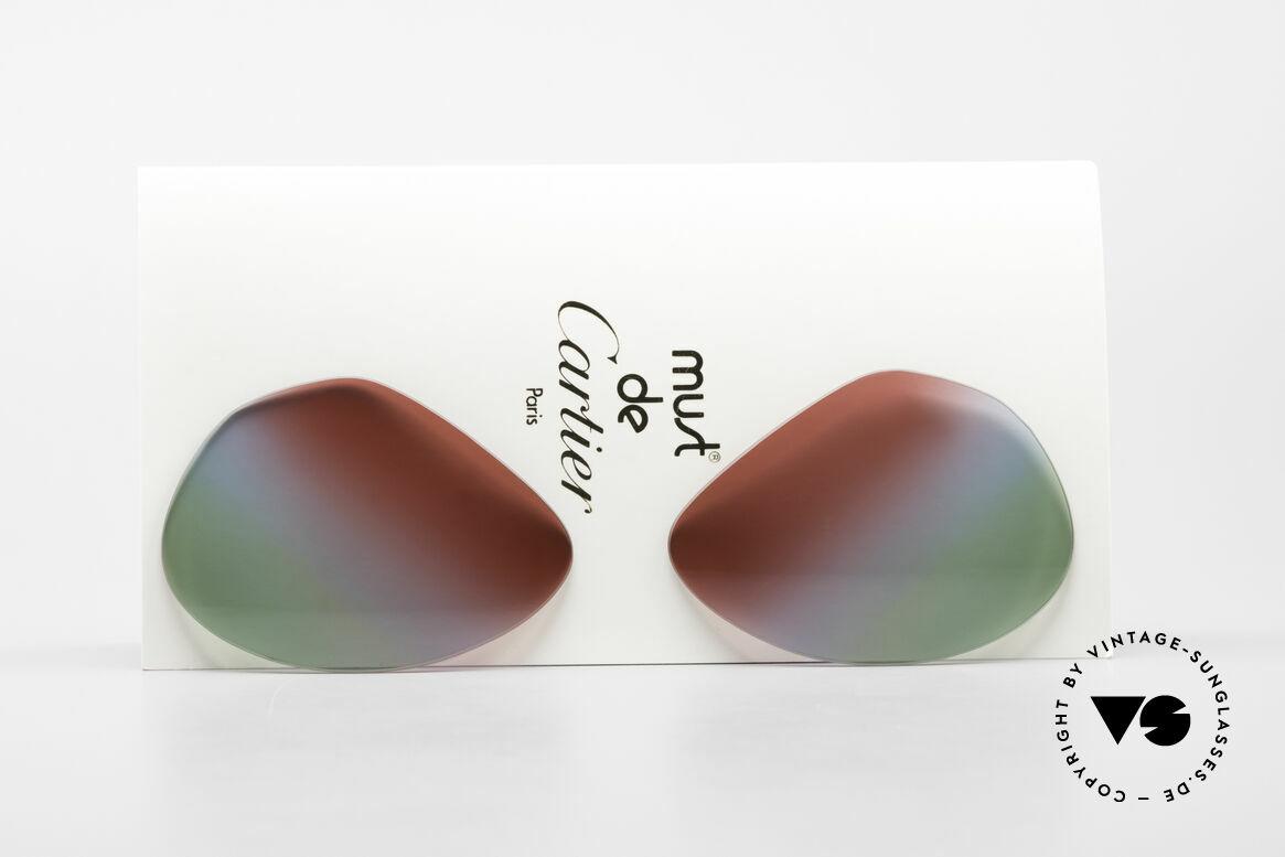 Cartier Vendome Lenses - L Polarlicht Bordeaux Tricolor, Ersatzgläser für die alte Cartier Vendome LARGE 62mm, Passend für Herren und Damen