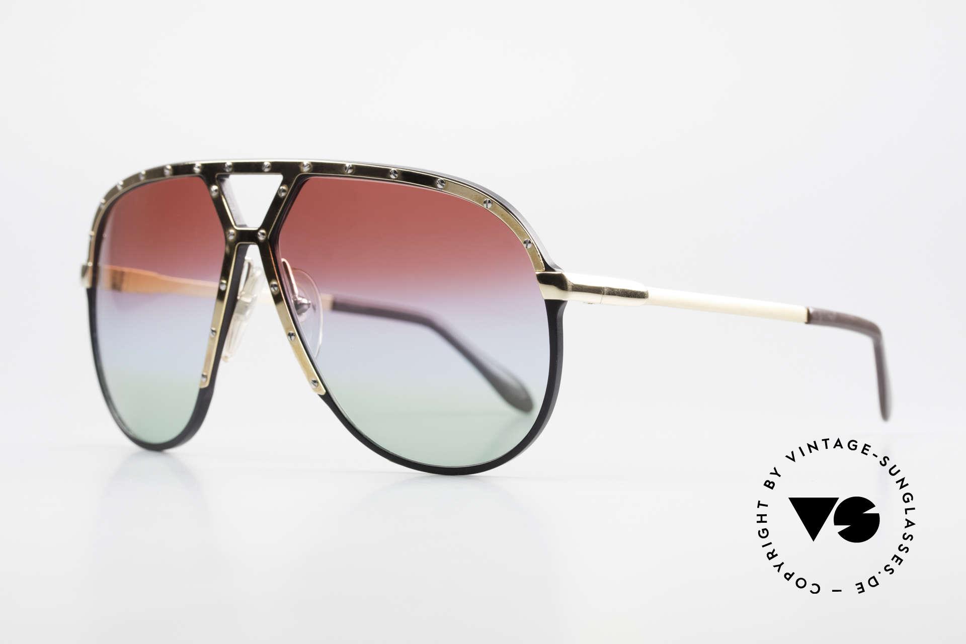 Alpina M1 80er Sonnenbrille Individuell, schwarze Fassung mit vergoldeter Blende & Bügel, Passend für Herren