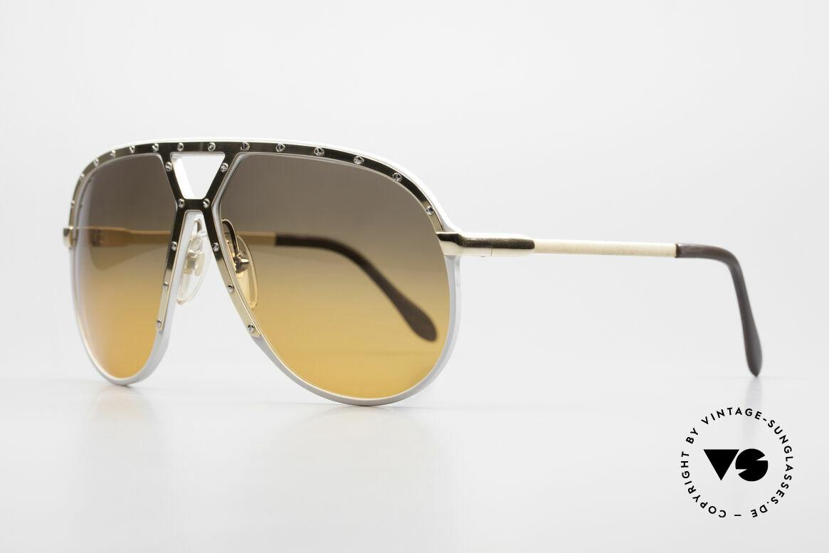 Alpina M1 Customized 80er Sonnenbrille, silberne Fassung mit vergoldeter Blende & Bügel, Passend für Herren
