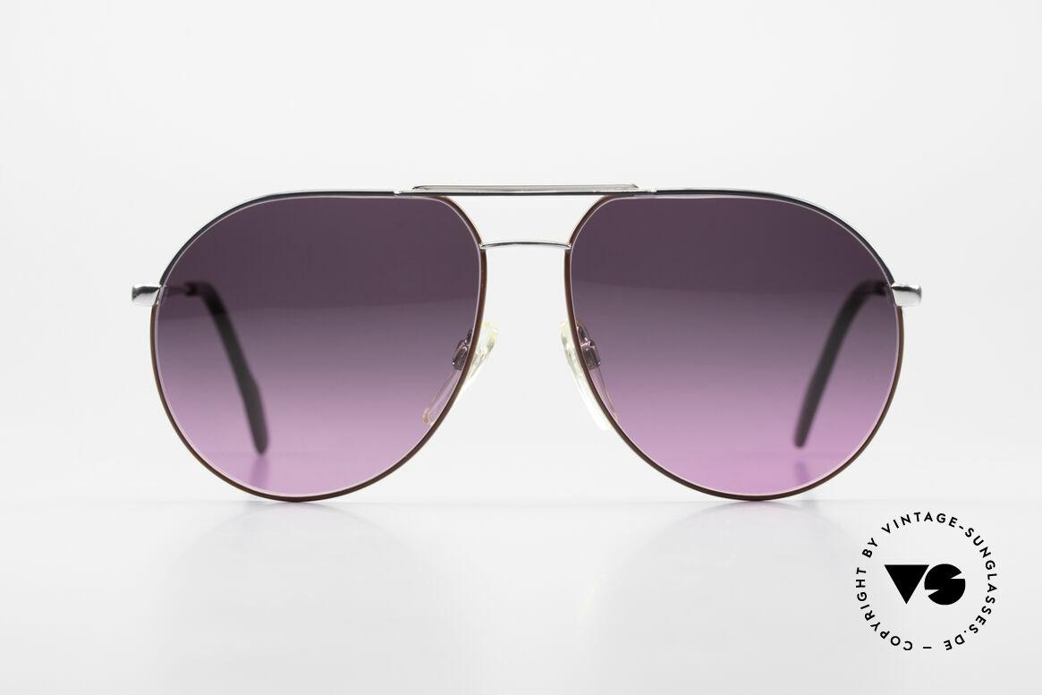 Metzler 0881 Rare 80er Aviator Sonnenbrille, silberner Rahmen mit Akzenten in grau und rot, Passend für Herren und Damen