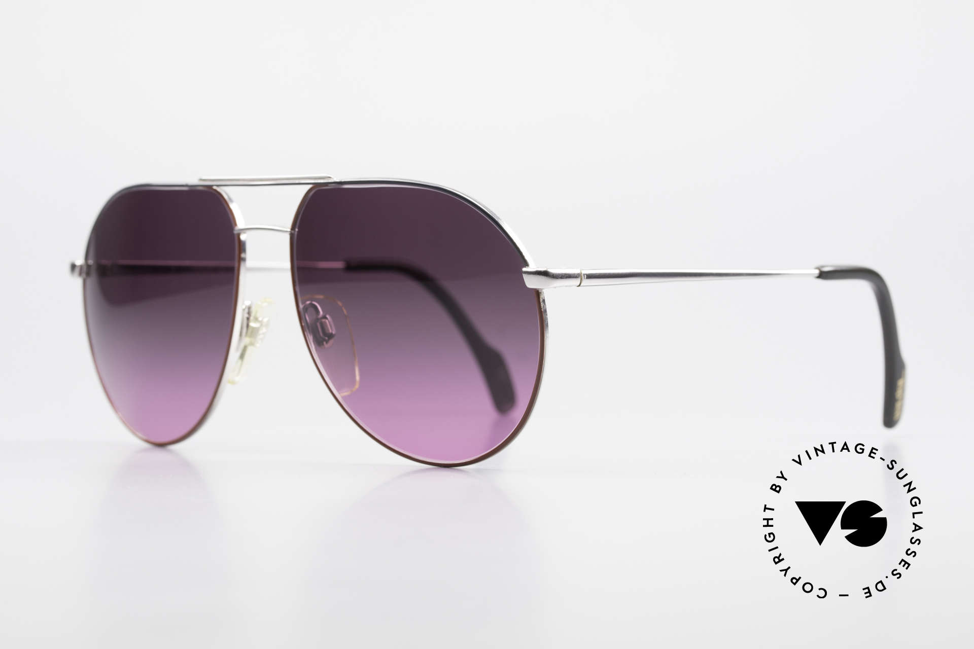 Metzler 0881 Rare 80er Aviator Sonnenbrille, Gläser ebenfalls mit Verlauf von grau zu violett, Passend für Herren und Damen