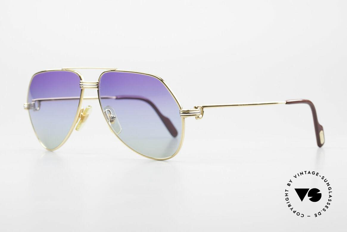 Cartier Vendome LC - S 80er Sonnenbrille Polarlicht, hier mit Louis Cartier Dekor in SMALL Gr. 56-14, 130, Passend für Herren und Damen