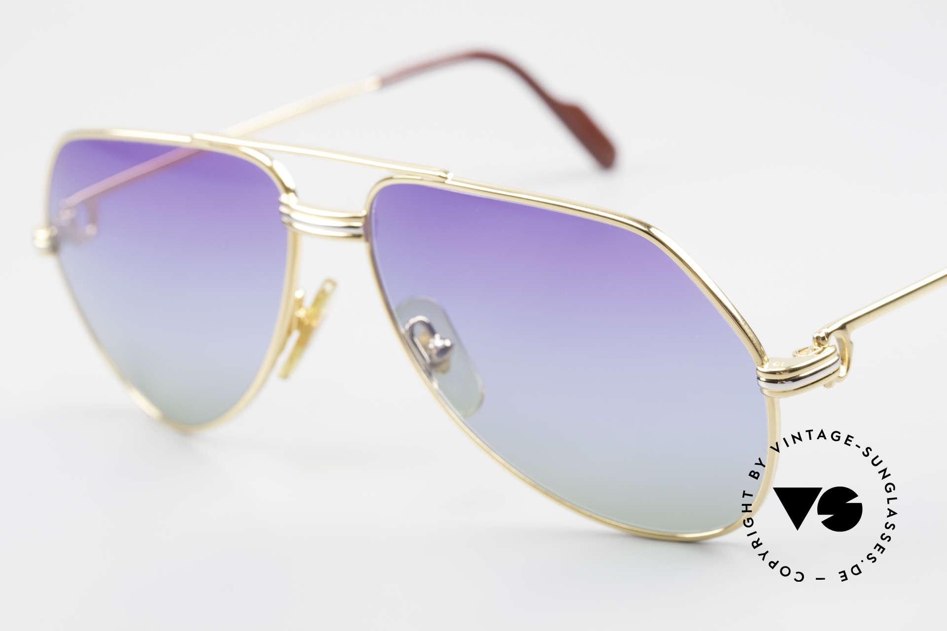 Cartier Vendome LC - S 80er Sonnenbrille Polarlicht, neue Sonnengläser mit 3fach Verlauf - wie Polarlichter, Passend für Herren und Damen