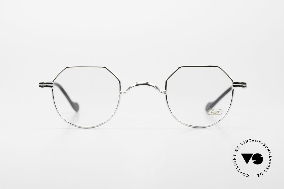 Lunor II A 18 Eckige Panto Brille Platin, edle Kombination: Metallfassung mit Acetatbügeln, Passend für Herren und Damen