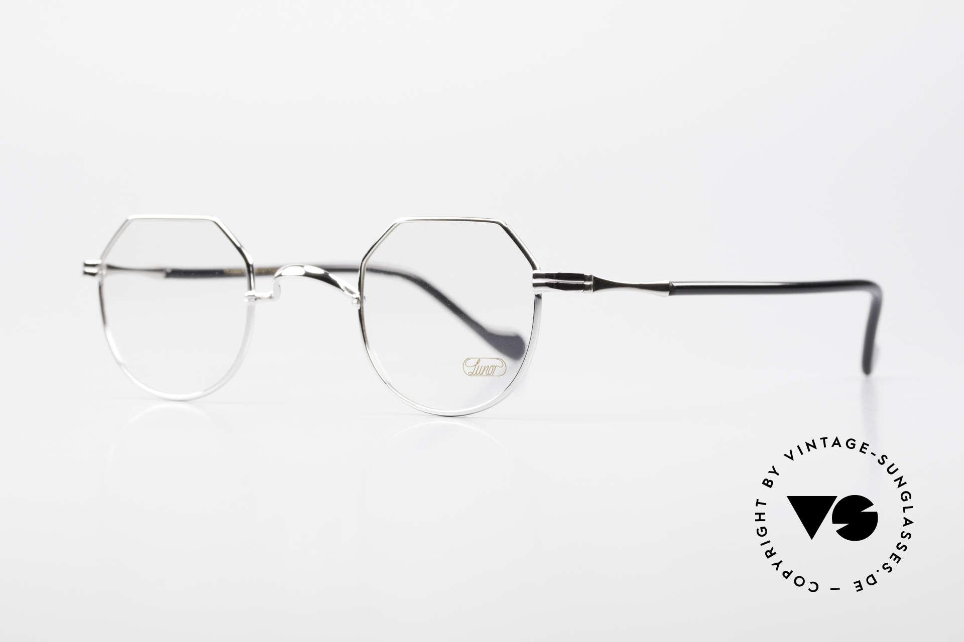 """Lunor II A 18 Eckige Panto Brille Platin, sehr seltenes Modell """"18"""" (eckiges PANTO-Design), Passend für Herren und Damen"""