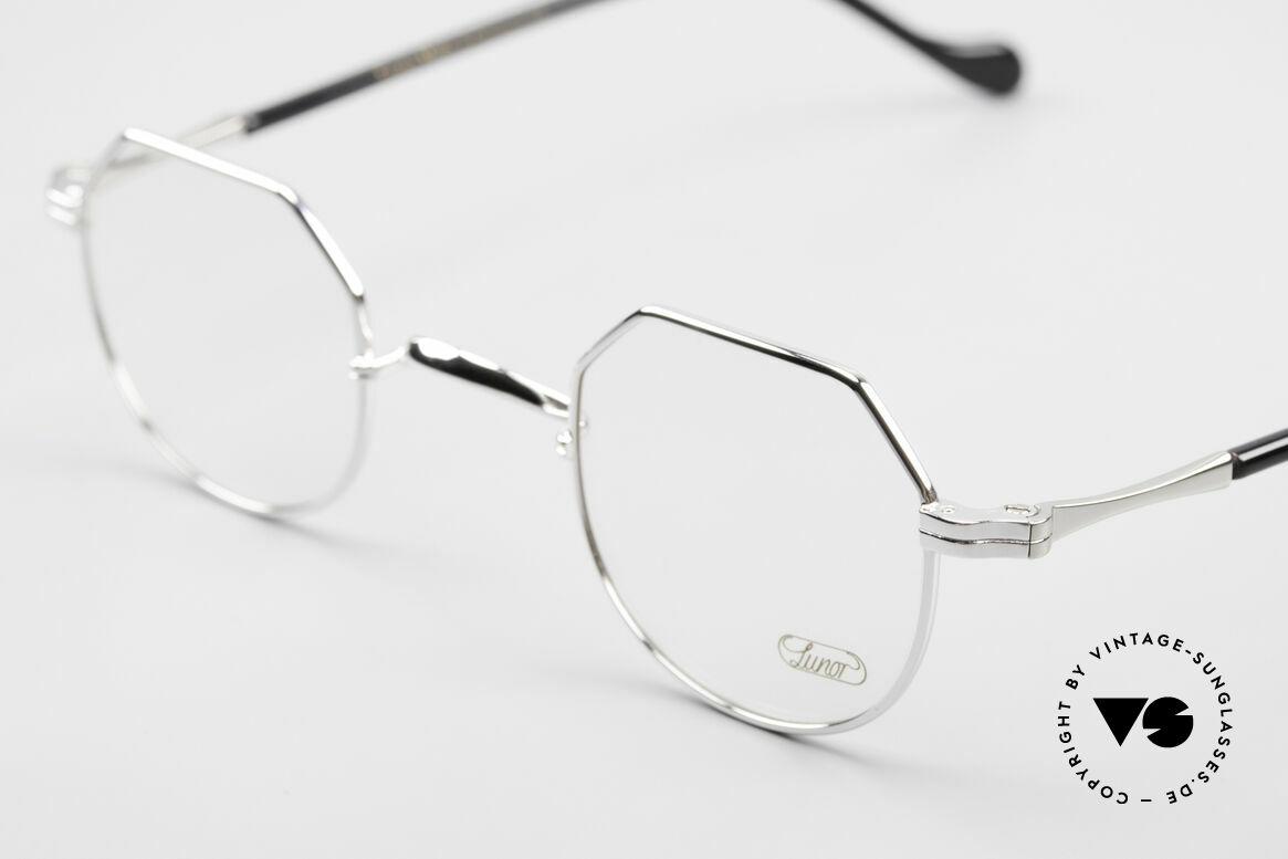 Lunor II A 18 Eckige Panto Brille Platin, extrem hochwertig platin-plattiert; TOP-Qualität!, Passend für Herren und Damen