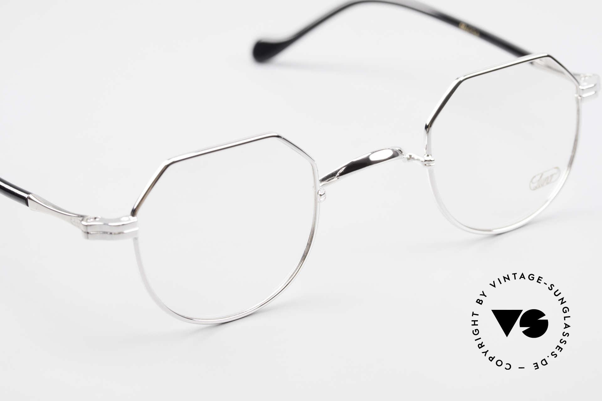 Lunor II A 18 Eckige Panto Brille Platin, altes, ungetragenes LUNOR Einzelstück von ca. 2010, Passend für Herren und Damen