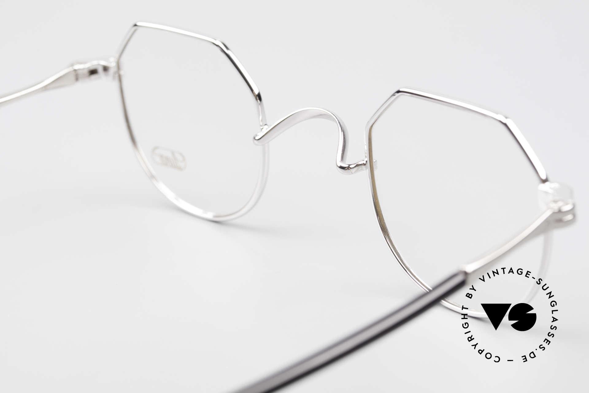 Lunor II A 18 Eckige Panto Brille Platin, DEMOgläser sollten natürlich ausgetauscht werden, Passend für Herren und Damen