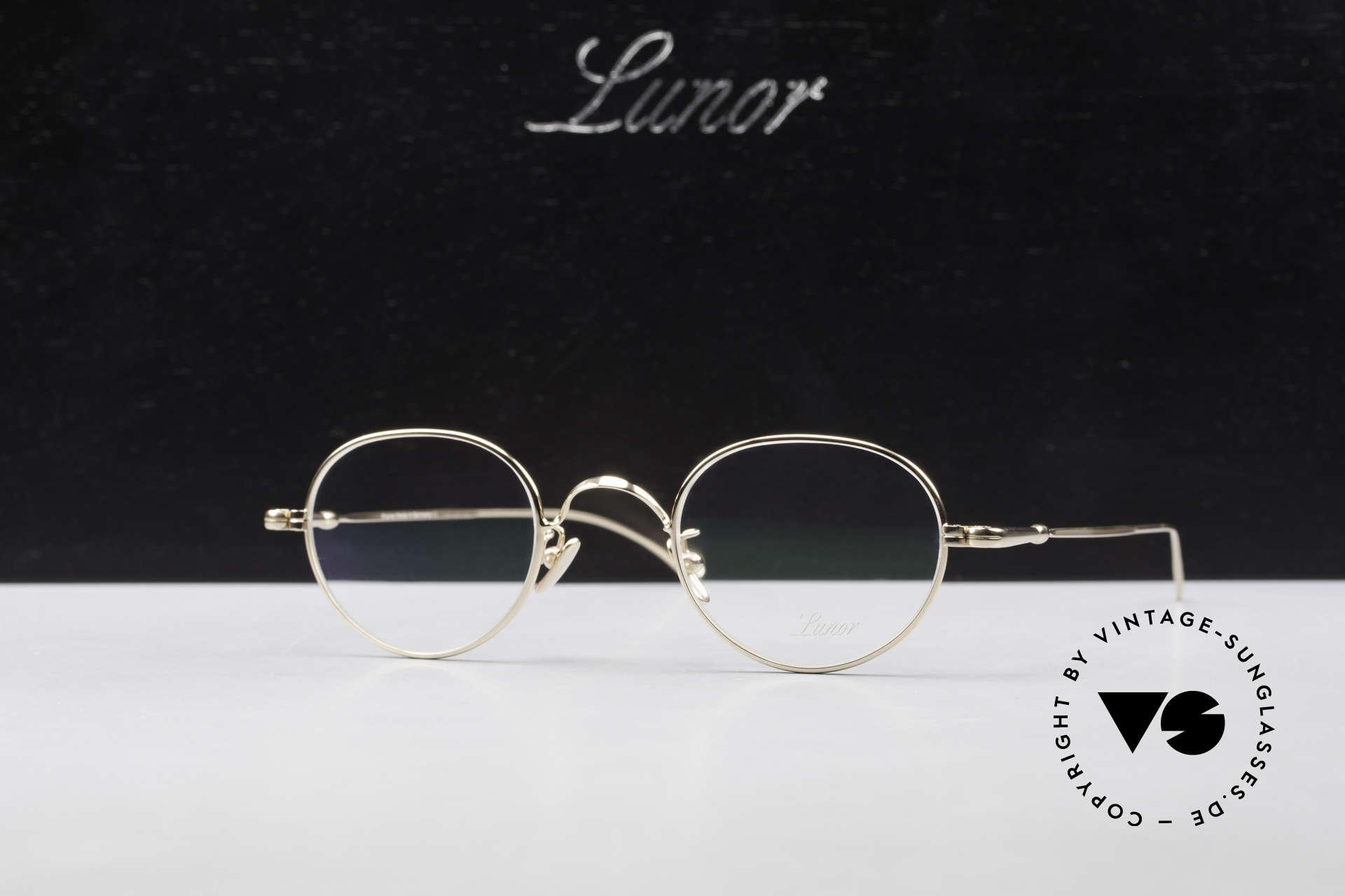 Lunor V 108 Pantobrille Titanium Vergoldet, Größe: medium, Passend für Herren