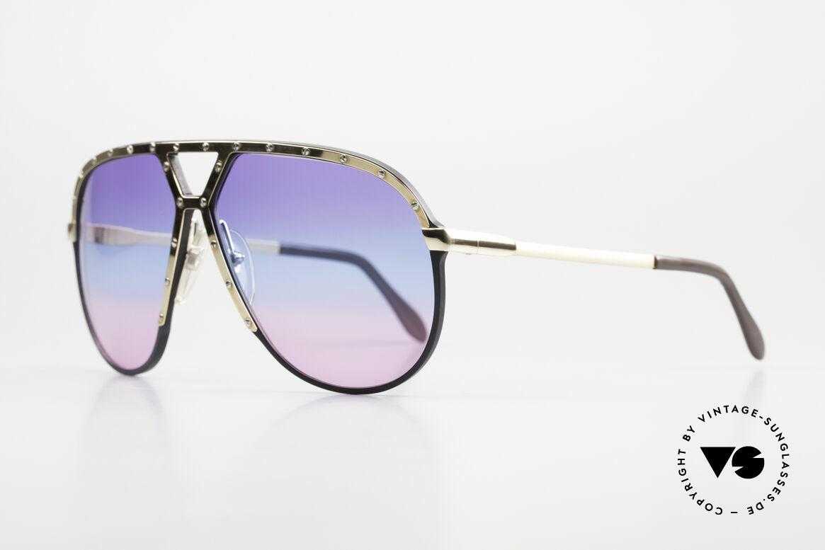 Alpina M1 80er Sonnenbrille Tricolor, schwarze Fassung mit vergoldeter Blende & Bügel, Passend für Herren