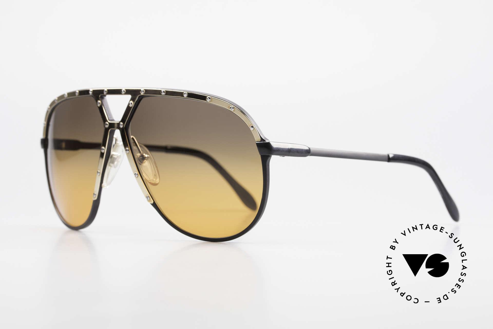 Alpina M1 80er XL Aviator Sonnenbrille, schwarze Fassung mit vergoldeter Blende & Bügel, Passend für Herren
