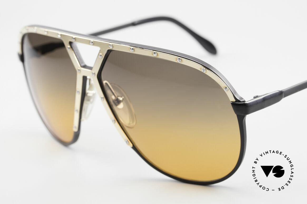 Alpina M1 80er XL Aviator Sonnenbrille, neue Sonnengläser: 2fach Verlauf 'Desert Storm', Passend für Herren