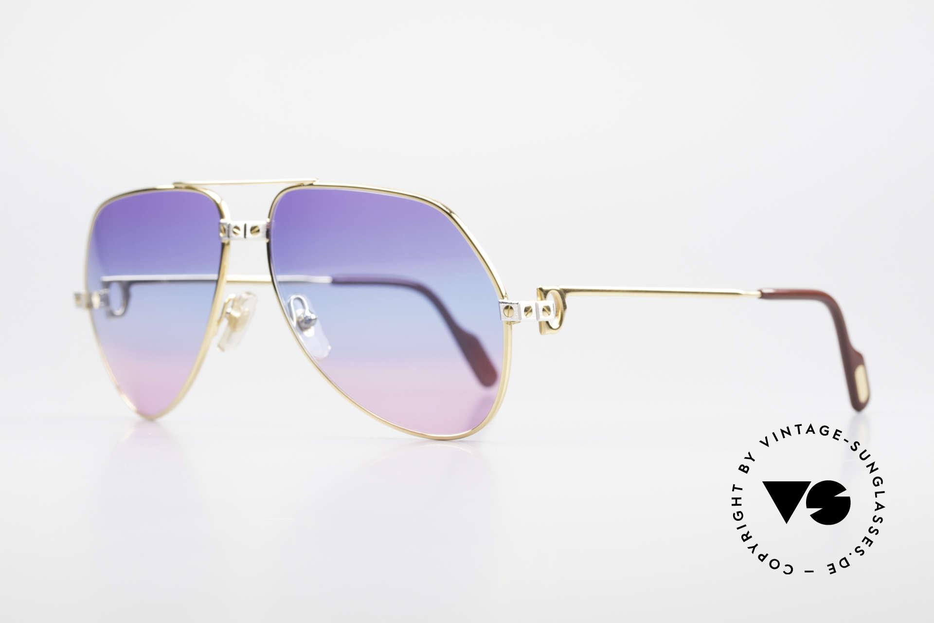 Cartier Vendome Santos - M Unikat Sammler Sonnenbrille, Santos-Dekor (3 Schrauben) in MEDIUM Gr. 59-14, 130, Passend für Herren und Damen