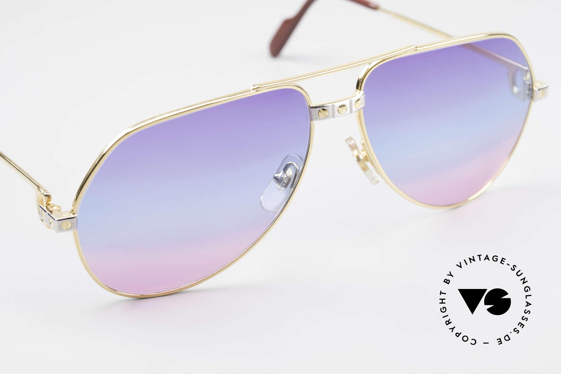 Cartier Vendome Santos - M Unikat Sammler Sonnenbrille, 80er-Gläser mit dreifach Verlauf (typisch für die 80er), Passend für Herren und Damen