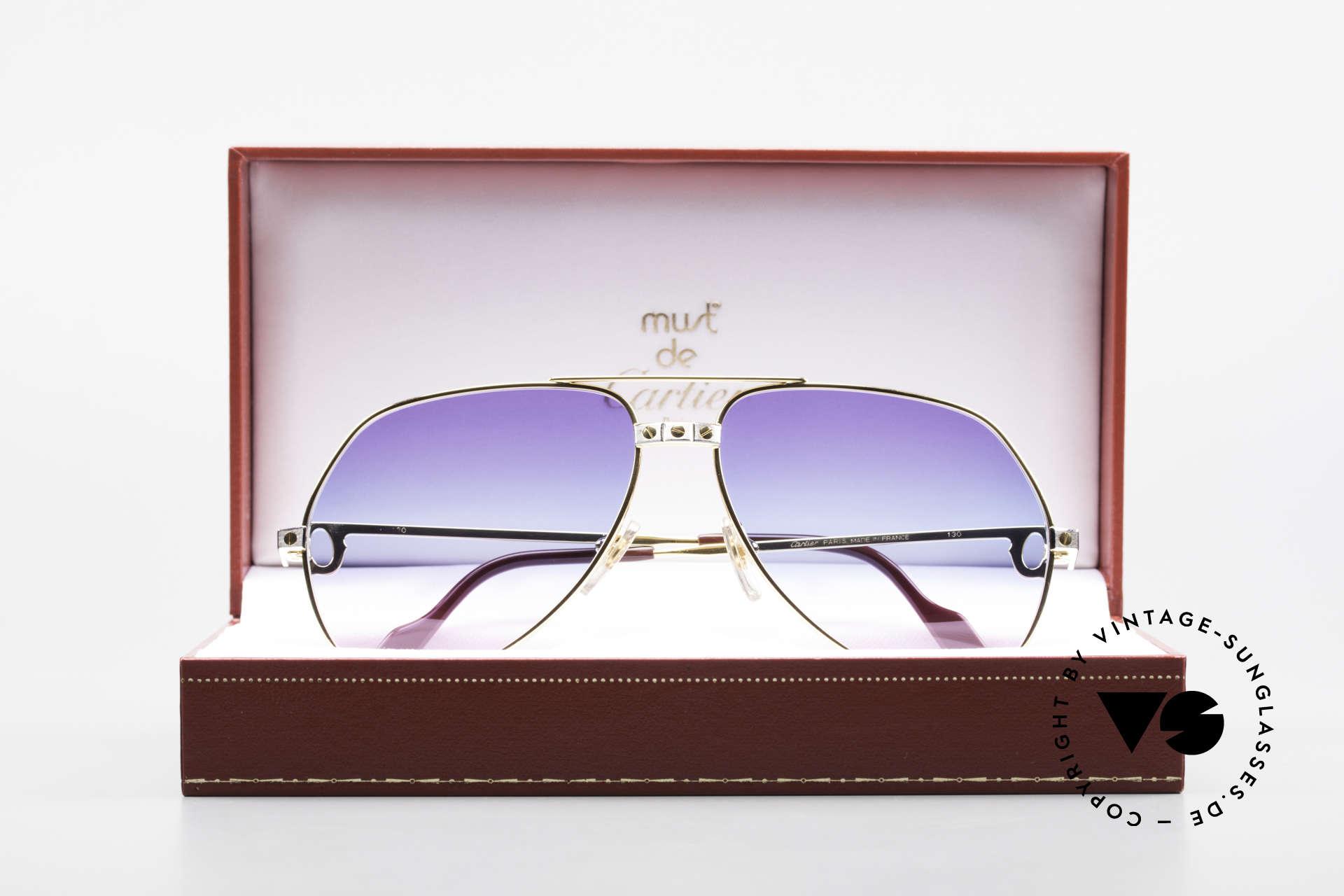 Cartier Vendome Santos - M Unikat Sammler Sonnenbrille, KEINE Retrobrille, sondern ein altes vintage ORIGINAL, Passend für Herren und Damen