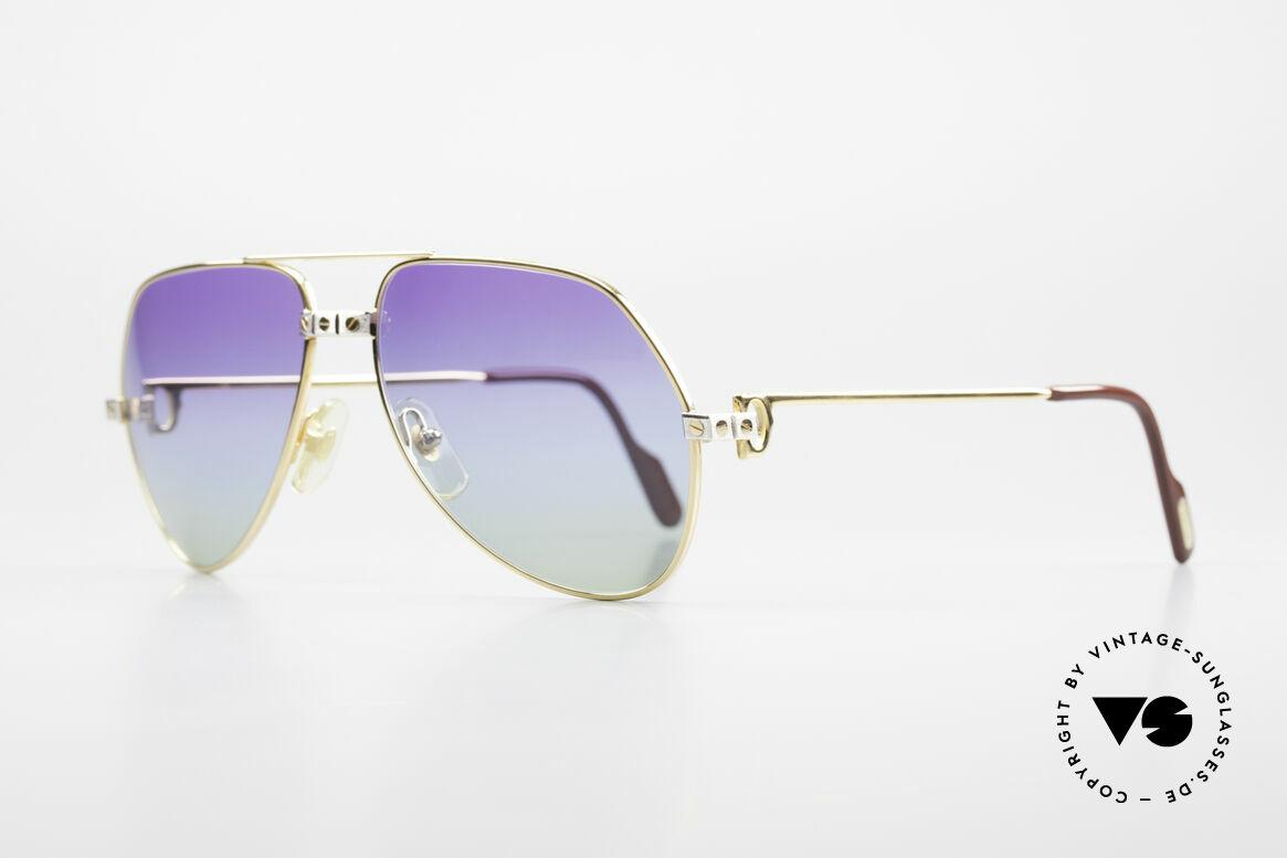 Cartier Vendome Santos - M James Bond Sonnenbrille 80er, Santos-Dekor (3 Schrauben) in MEDIUM Gr. 59-16, 140, Passend für Herren und Damen