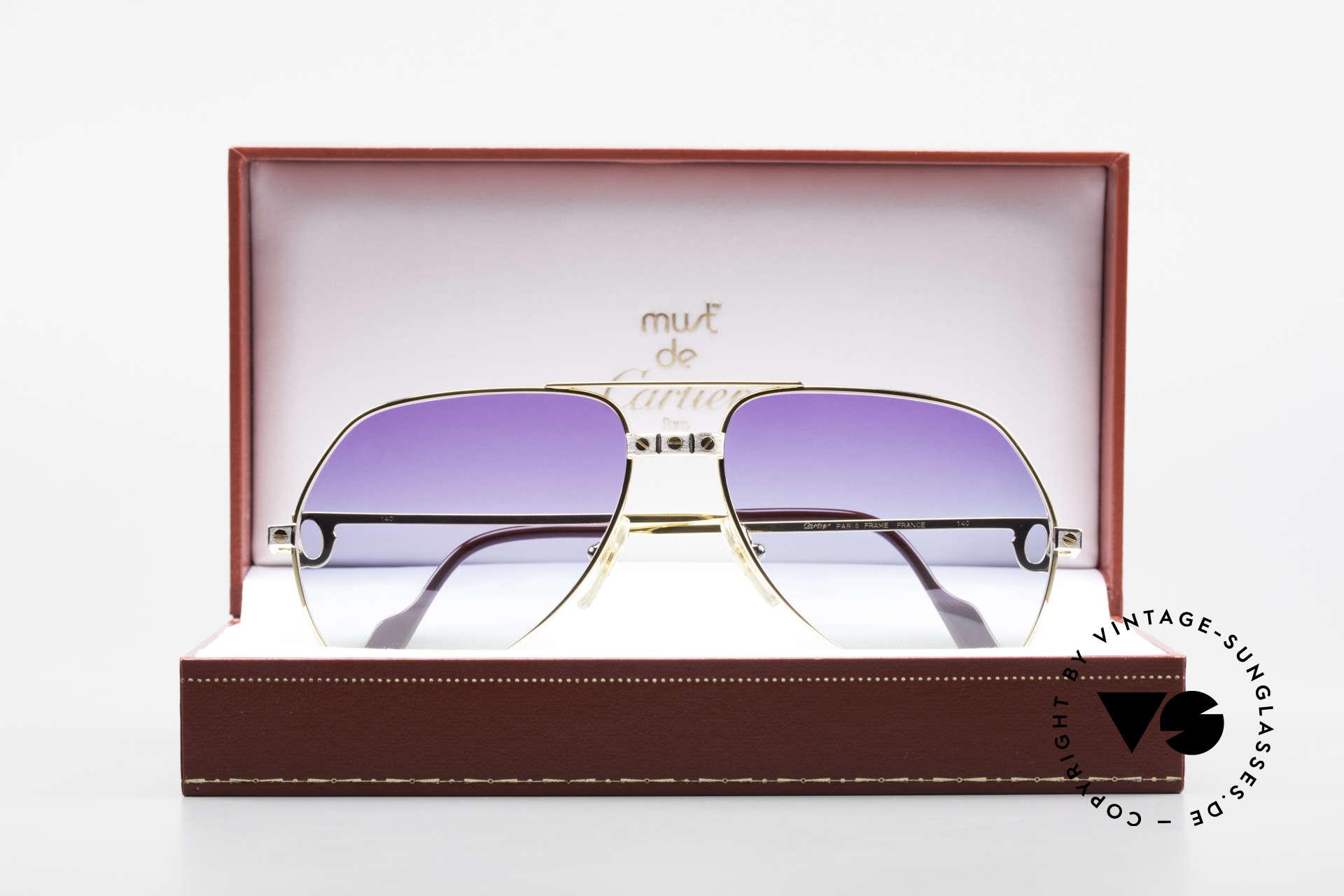 Cartier Vendome Santos - M James Bond Sonnenbrille 80er, ungetragene Rarität, 22kt vergoldet + orig. Verpackung, Passend für Herren und Damen